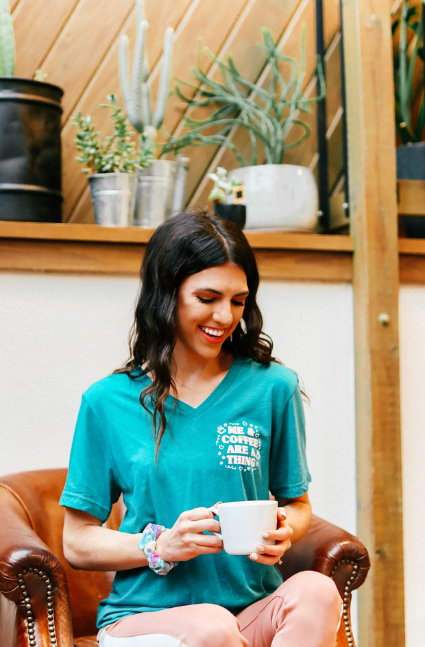 TSL - Me & Coffee Are A Thing (Teal Triblend) - Short Sleeve - V-Neck
