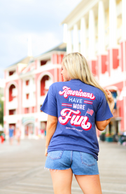 Americans Have More Fun (Navy Heather) - Short Sleeve / V-Neck