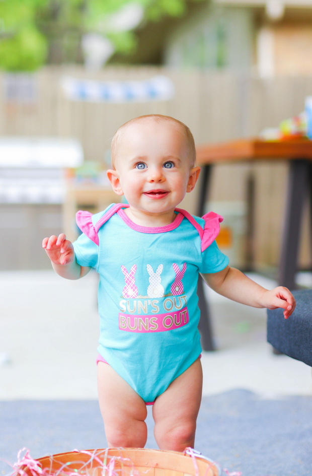 Tiny Tinies - Suns Out Buns Out (Seafoam Heather) - Onesie