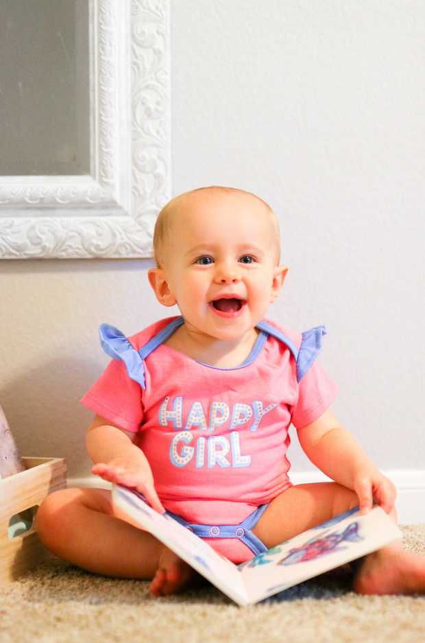 Tiny Tinies - Happy Girl (Pink Heather) - Onesie