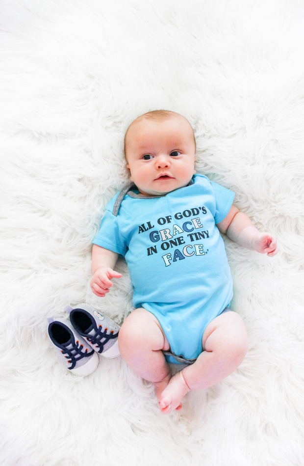 Tiny Tinies - All Of God's Grace (Lagoon Blue Heather) - Onesie
