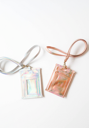 Metallic Lanyard & Attachable ID Holder (Rose Gold)