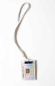 Metallic Lanyard & Attachable ID Holder (Silver Iridescent)
