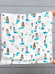 Baby Blanket - My WHOLE Heart (Turquoise/Black)