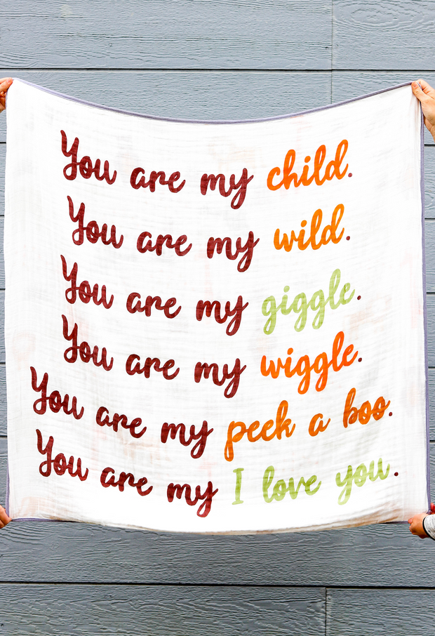 Baby Blanket - You Are My Child (Orange/Olive)