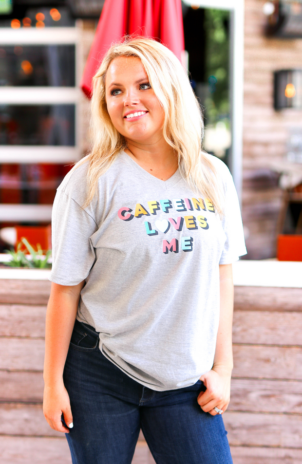 Caffeine Loves Me (Light Grey Heather) - Short Sleeve / V-Neck