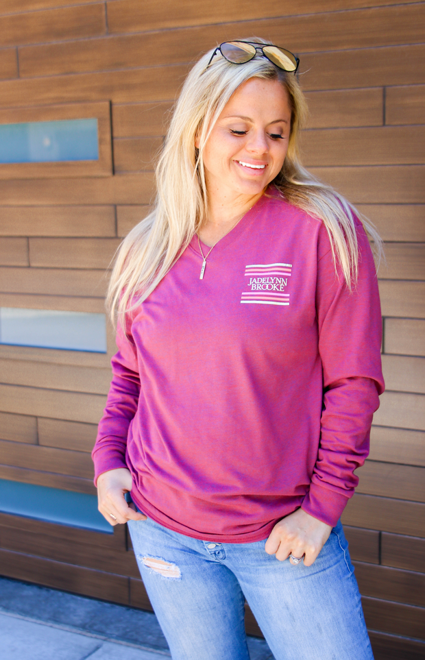 Laughs Without Fear (Wine Heather)  - Long Sleeve / V-Neck
