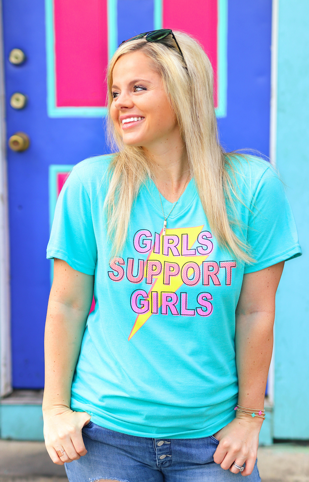Girls Support Girls (Seafoam Heather) - Short Sleeve / V-Neck