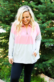 Burnout Pullover (Grey/Rose) - Long Sleeve 1/4 Zip