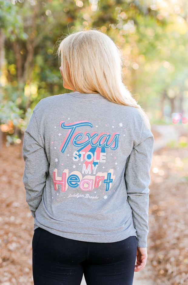 Texas Stole My Heart (Dark Grey Heather)  - Long Sleeve / V-Neck