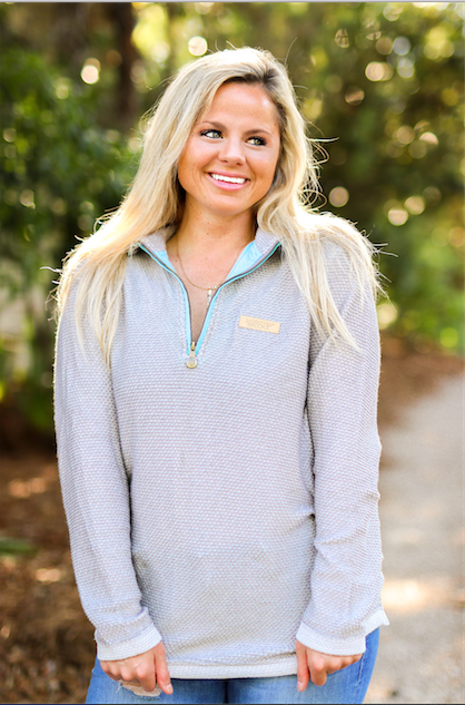 JLB Boyfriend Pullover (Cool Grey) - Long Sleeve 1/4 Zip