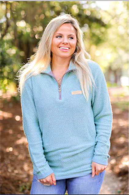 JLB Boyfriend Pullover (Chalky Mint/Blue Jean) - Long Sleeve 1/4 Zip