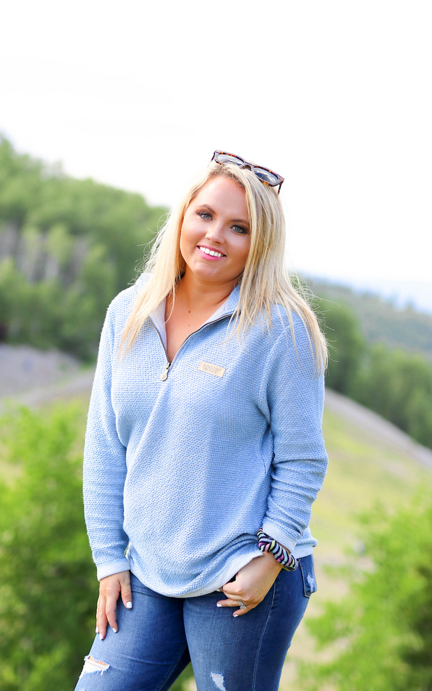 JLB Boyfriend Pullover (Powder Blue/Cream) - Long Sleeve 1/4 Zip