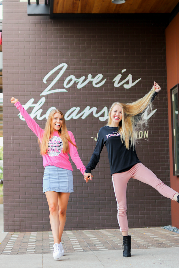 In October We Wear Pink (Pink Heather)  - Long Sleeve / Crew