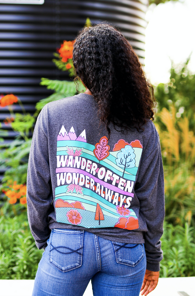 K&C - Wander Often Wonder Always (Charcoal Heather) - Long Sleeve / Crew
