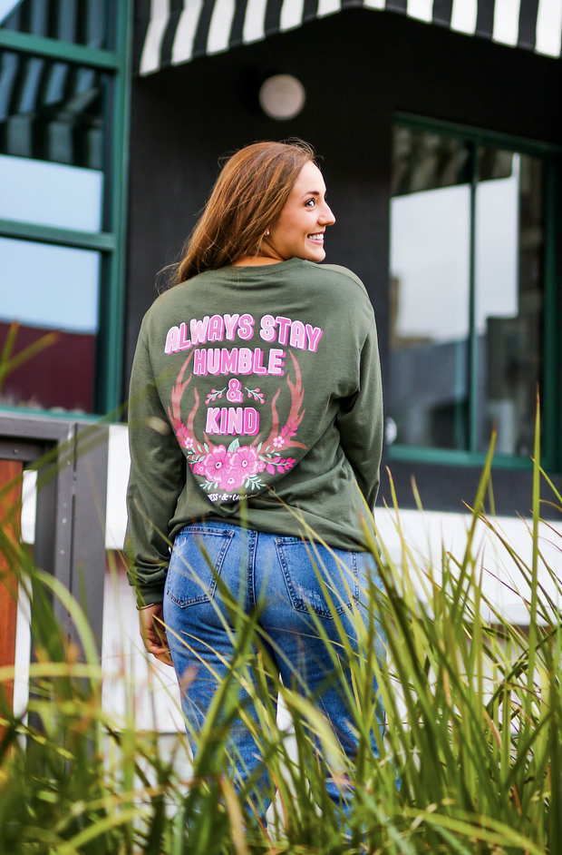 K&C - Always Stay Humble & Kind (Moss) - Long Sleeve / Crew