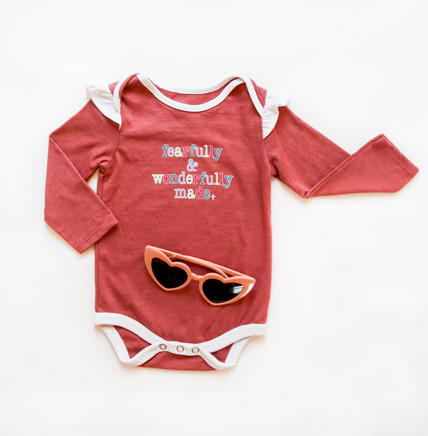Fearful & Wonderfully Made (Mauve Heather) - Onesie