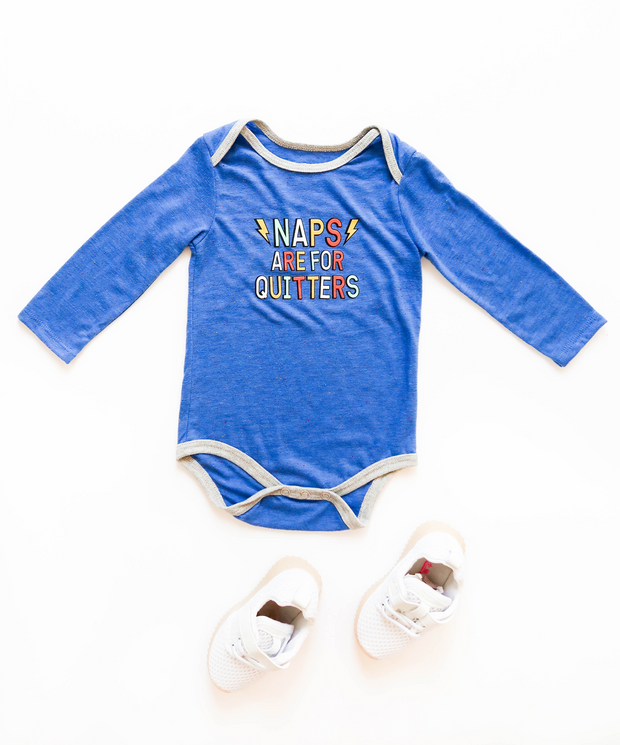 Naps Are For Quitters (Flo Blue Funfetti) - Onesie / Long Sleeve