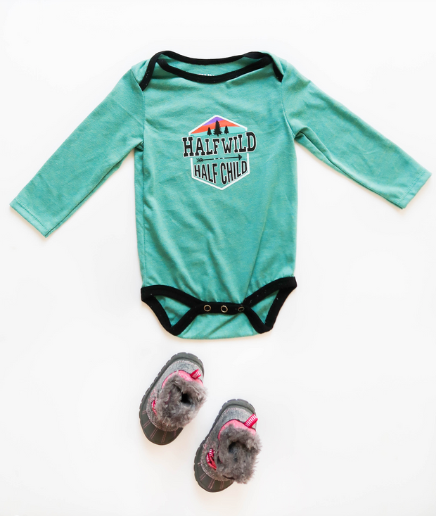 Half Wild Half Child (Jade Heather) - Onesie / Long Sleeve