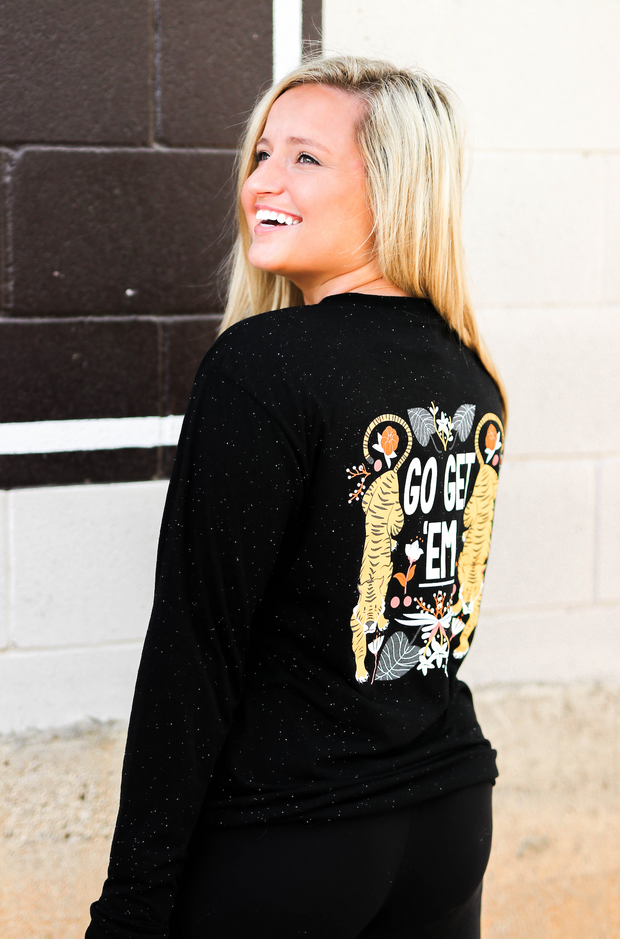 Go Get'em Tiger (Dark Night Heather) - Long Sleeve / V-Neck