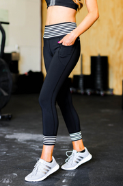 Grey Stripe Leggings (Black)