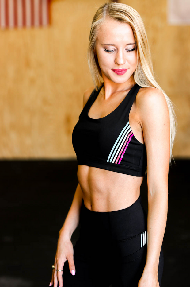 Rainbow Striped Sports Bra (Black)