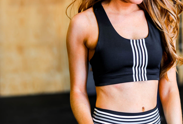 Grey Striped Sports Bra (Black)