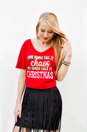 TSL - Christmas Chaos (Red Fleck)  - Short Sleeve - V-Neck