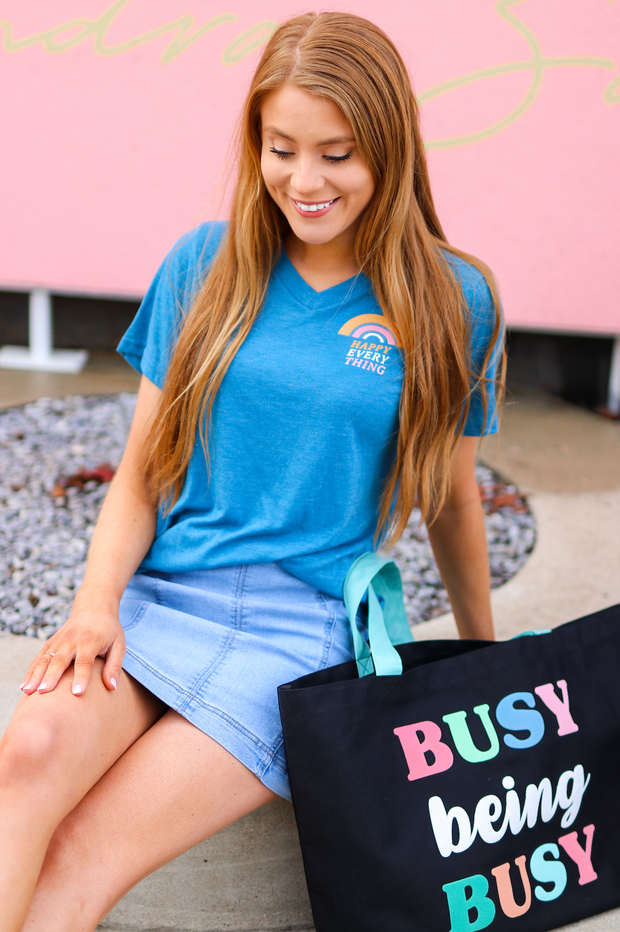 TSL - Happy Everything (Teal Heather) - Short Sleeve / V-Neck
