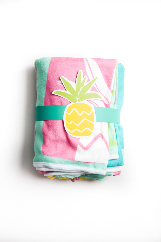 3HH Towel - Pineapples & Palm LeavesMint)