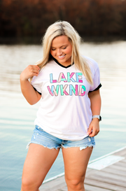 Lake WKND (White w/Black Trim) - Short Sleeve / V-Neck