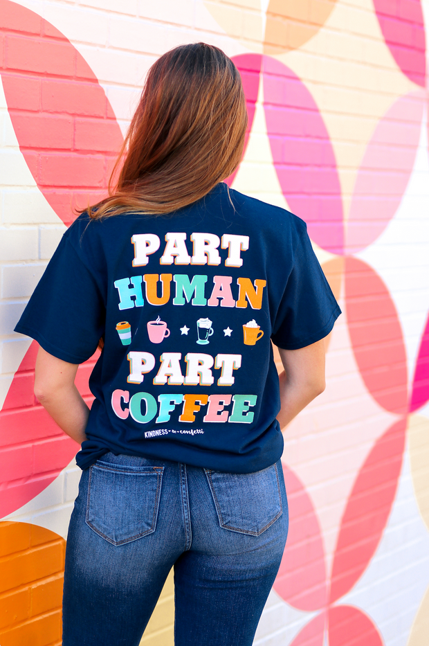 K&C - Part Human Party Coffee (Athletic Navy) - Short Sleeve/Crew