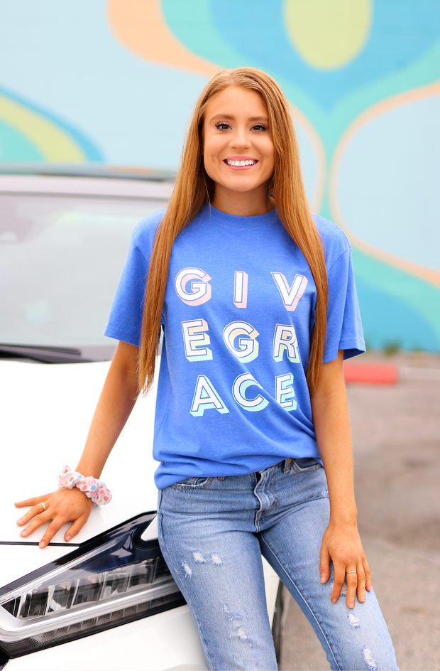 Give Grace (Flo Blue Heather) - Short Sleeve / Crew