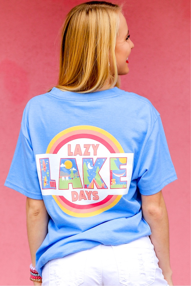 Lazy Lake Days (Periwinkle Heather) - Short Sleeve / V-Neck