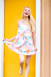 Cami Tie Dress - Citrus Summer (Coral Multi)