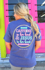 Caffeine & Jesus (Heather Navy) - Short Sleeve / Pocket Crew