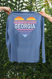 Rainbow Georgia (Heather Blue Jean) - Long Sleeve / Crew