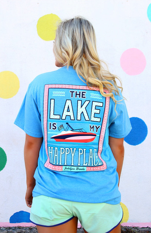 The Lake Is My Happy Place (Heather Dynamic Blue) - Short Sleeve / Pocket Tee