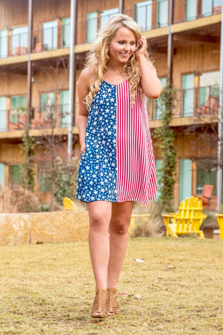 Red, White, & Happy - Cami Dress