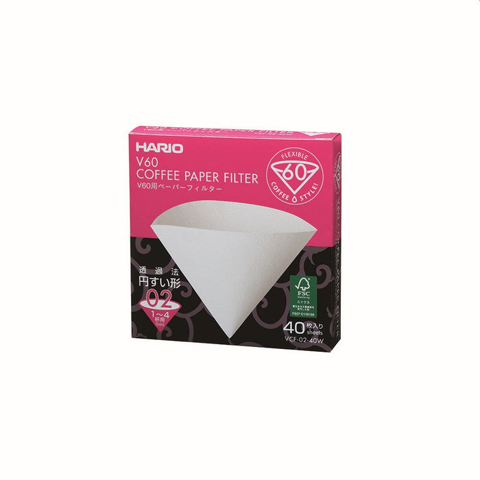 Hario V60 Coffee Filter Papers - Size 02 - White (40 pack)