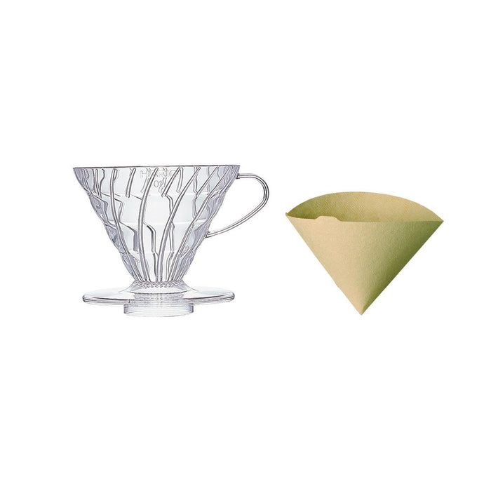 Hario V60 Coffee Dripper Plastic (Size 02) Including 40 FREE Filter Papers