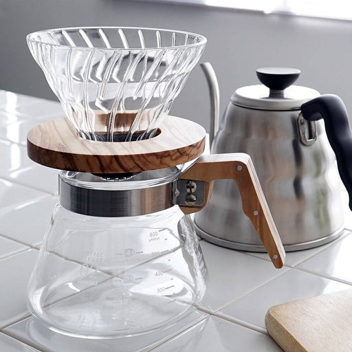 Hario V60 Glass Coffee Dripper Olive Wood Size 02