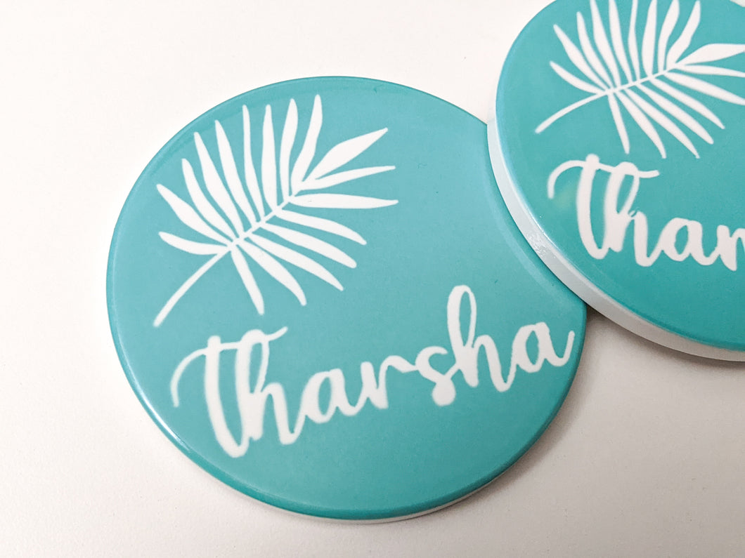 Single Leaf Bright Teal Coasters