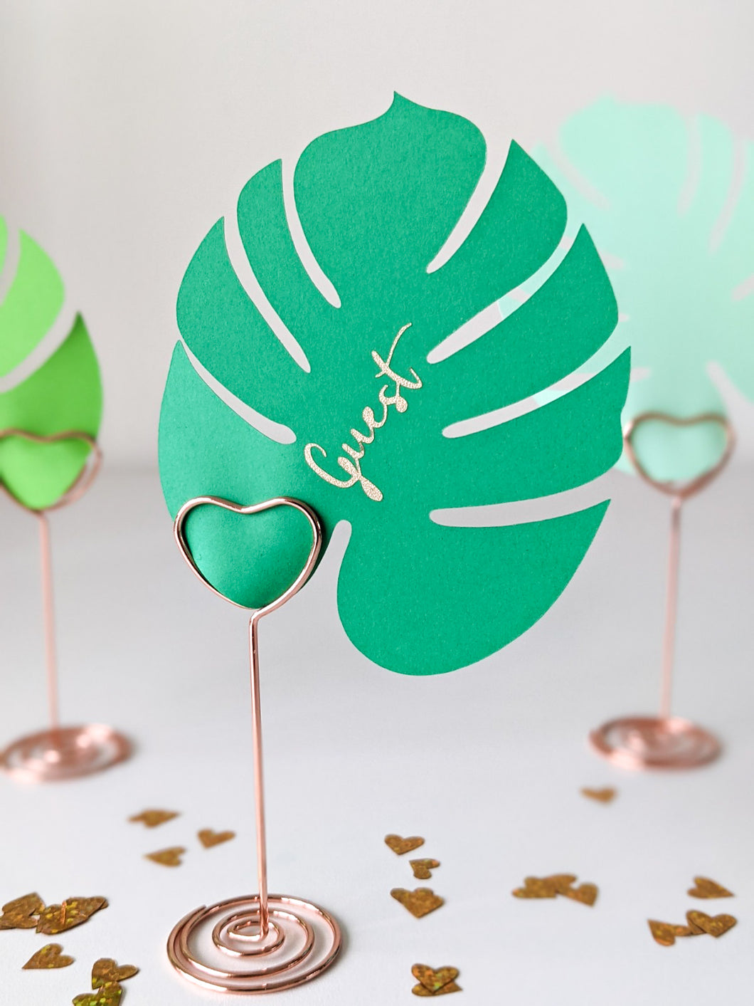 Customized Monstera Leaf Placecards with Holders