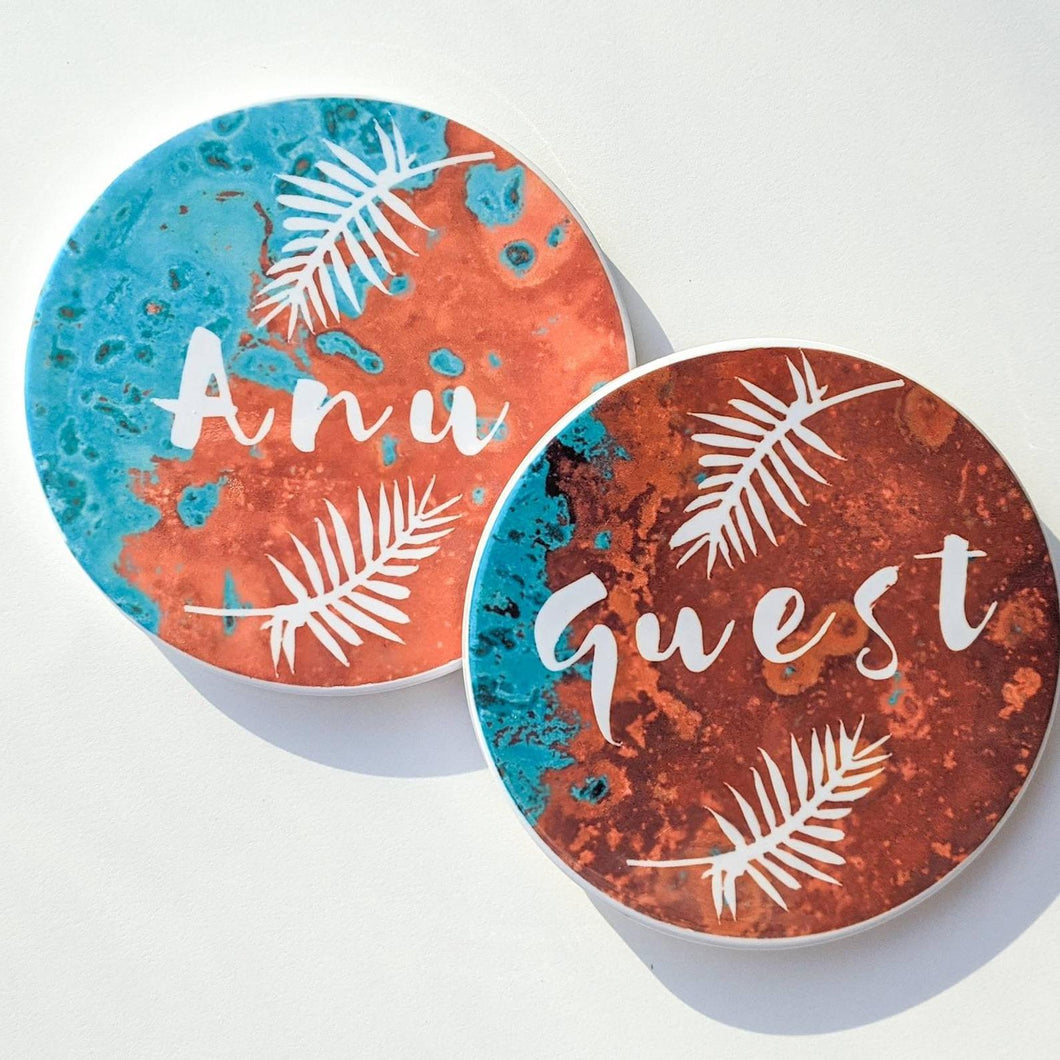 Patterned Background with Palm Leaf Coasters