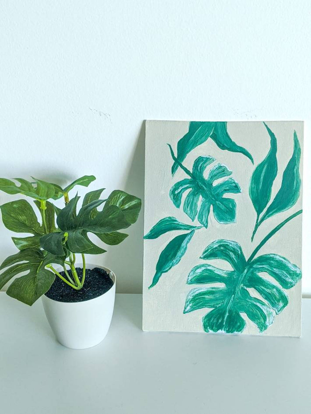 Tropical Leaves on Canvas Panel