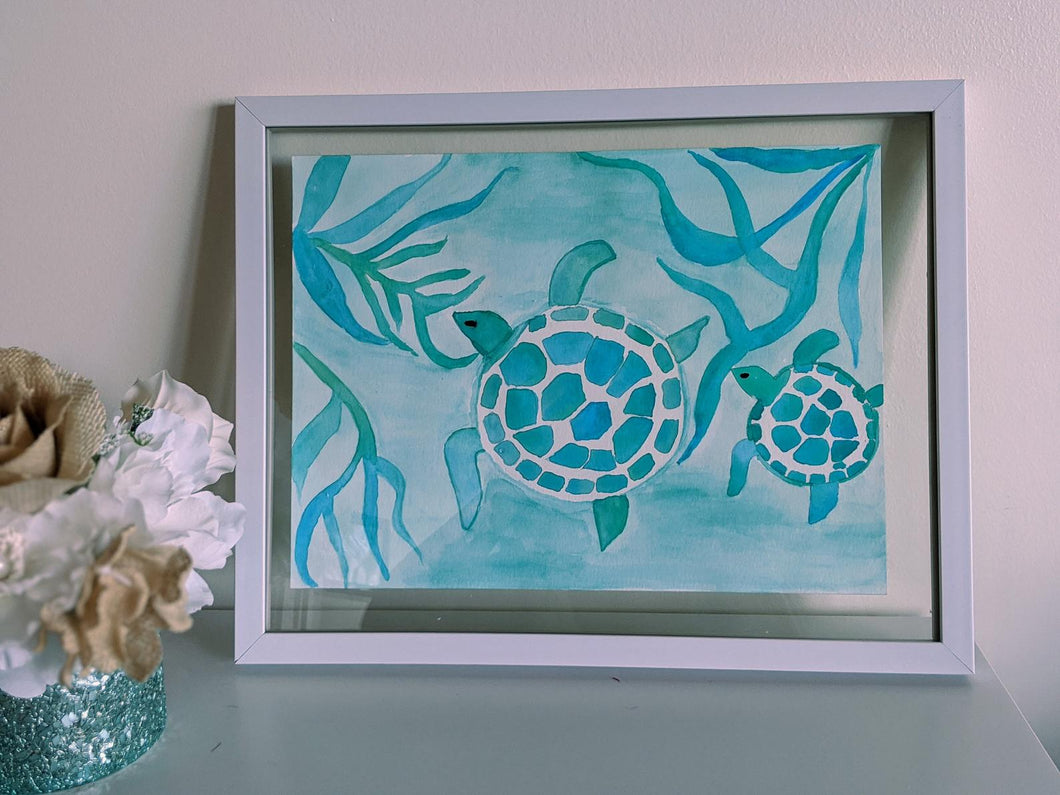 Turtles Under the Sea - Watercolour Painting