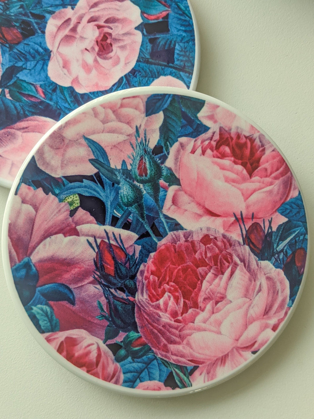 Cabbage Rose Ceramic Coaster