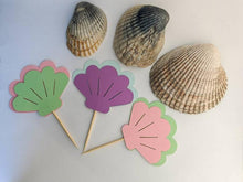 Load image into Gallery viewer, Seashell Cupcake Toppers by Under the Sea Collection