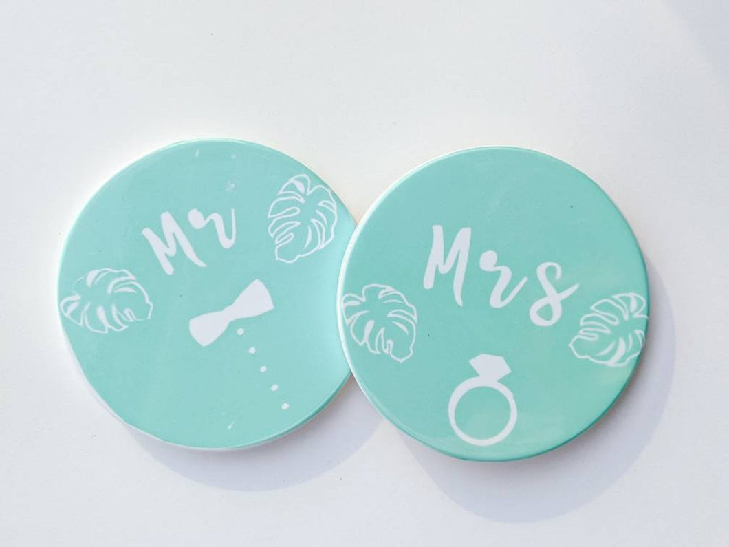 Mr & Mrs Tropical Coasters in Mint